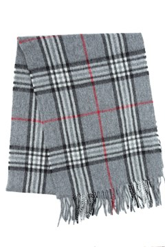 Wool Cashmere Check Scarf 960 GREY 1